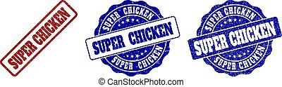SUPER CHICKEN Scratched Stamp Seals
