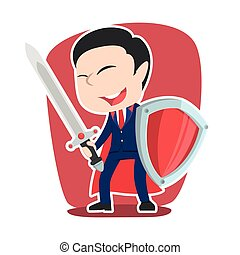 Super chinese businessman with sword and shield