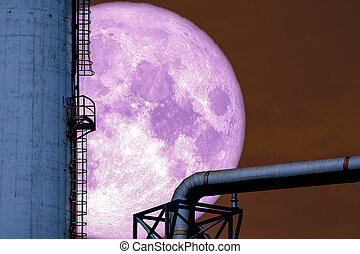 super cold moon back silhouette refinery oil tank