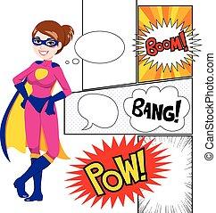 super, comique, femme, héros, panneaux