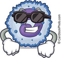 Super cool basophil cell character wearing black glasses. ...