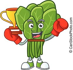Super cool Boxing winner spinach in mascot cartoon style