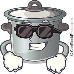 Super cool cartoon cookware stock pot in kitchen vector...
