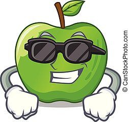 Super cool character ripe green apple with leaf