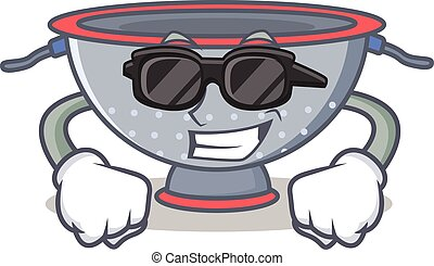 Super cool colander utensil character cartoon vector...