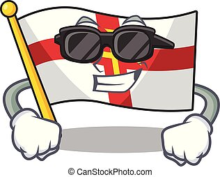 Super cool flag guernsey with the cartoon shape vector illustration