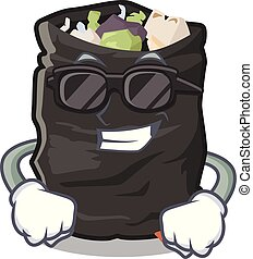 Super cool garbage bag in the cartoon shape vector illustration