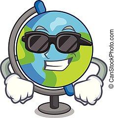 Super cool globe character cartoon style