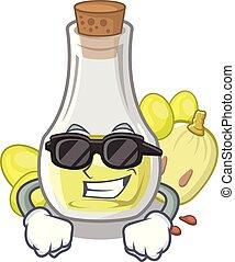 Super cool grape seed oil in cartoon bottle