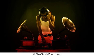 super cool guy djs with retro gramophones. original concept...