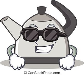 Super cool kettle character cartoon style vector...