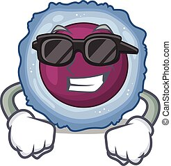Super cool lymphocyte cell character wearing black glasses. ...