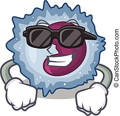 Super cool monocyte cell character wearing black glasses. ...