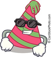 Super cool party hat character cartoon vector illustration