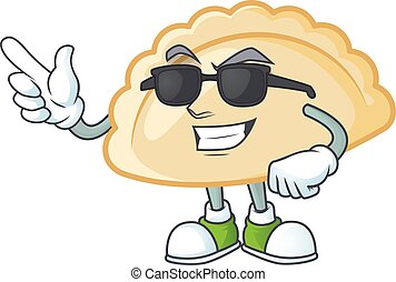 Super cool pierogi character wearing black glasses. Vector illustration