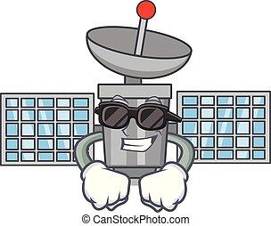Super cool satelite character cartoon style