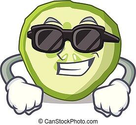 Super cool sliced cucumber hamburger ingredient character cartoon
