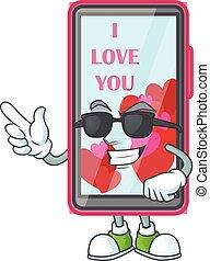 Super cool smartphone love character wearing black glasses