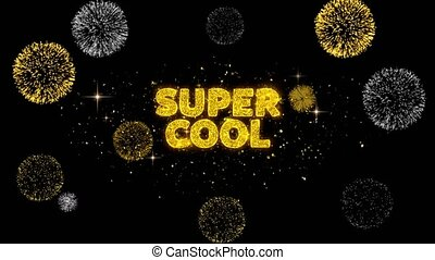 Super Cool Text Reveal on Glitter Golden Particles Firework. Sale, Discount Price, Off Deals, Offer promotion offer percent discount ads 4K Loop Animation.