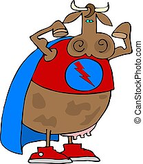 Super Cow - This illustration depicts a cow dressed as a ...