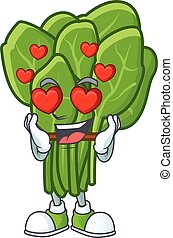 Super cute Falling in love spinach cartoon character