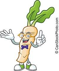 Super Cute Geek horseradish cartoon character design. Vector illustration