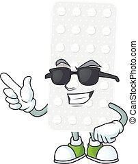 Super cute pills cartoon character wearing black glasses. ...
