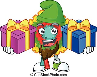 Super cute pinata cartoon design with Christmas gifts