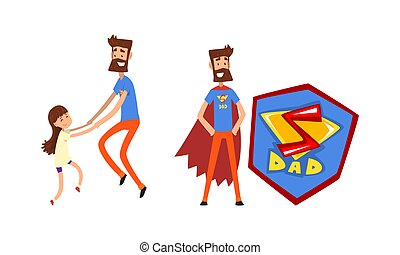 Super Dad and His Child Spending Time Together Playing and Jumping Vector Set