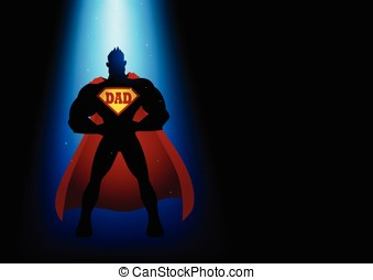 Super Dad - Silhouette of a superhero under blue light with...