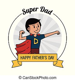 super dad hero strong. happy fathers day celebration card