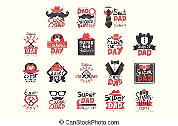 Super Dad logo set, Fathers Day vector illustrations