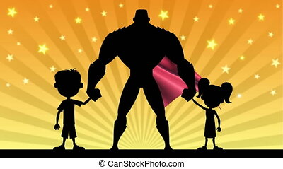 Super Dad - Looping animation of super dad posing with his...