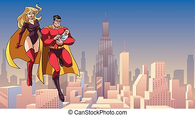 Super Dad Mom and Baby in City