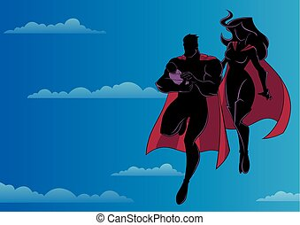Super Dad Mom and Baby Sky Silhouette
