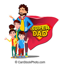 Super Dad Vector. Father s Day. Shield Badge. Isolated Flat Cartoon Illudtration