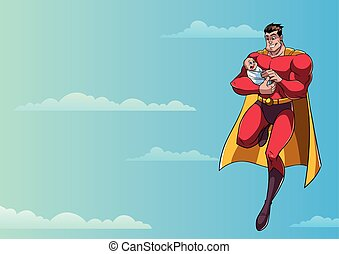 Super Dad with Baby in Sky