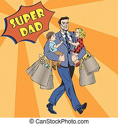 Super Dad with kids on his hands and Shopping Bags. Happy Fathers Day in Pop Art Style