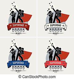 Super daddy or superdad logo design.