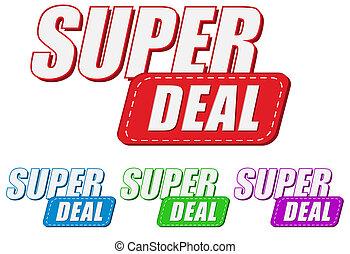 super deal, four colors labels, flat design, business shopping concept