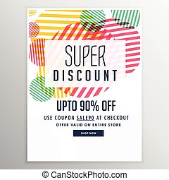 super discount sale banner design template with abstract shapes
