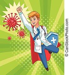 super doctor flying with shield vs covid19 particles vector illustration design vector illustration design