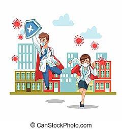 super doctors couple vs covid19 on the city vector illustration design