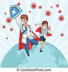 super doctors couple vs covid19 particles in earth planet vector illustration design vector illustration design