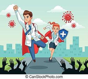 super doctors couple with people cheering vs covid19 vector illustration design vector illustration design
