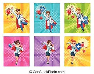 super doctors staff vs covid19 particles vector illustration design vector illustration design