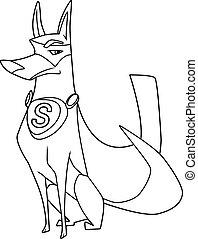 Super Dog Sitting Line Art