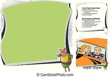 Super-duper pig. Frame for scrapbook, banner, sticker, social network.