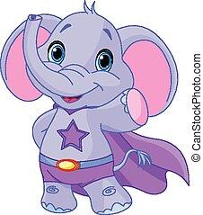 Super Elephant - Illustration of Super Hero Elephant
