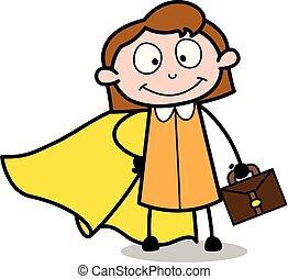 Super Employee - Retro Office Girl Employee Cartoon Vector Illustration